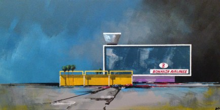 "Michael Murphy - Bonanza Airlines No. 2. acrylic on canvas, 12x24"", $1000 Sold"