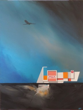 "Michael Murphy - PSA Desert Layover. acrylic on canvas, 18x24"", $1200"