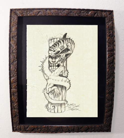 "Brad ""Tiki Shark"" Parker - Dragon & TIKI (drawing)pencil on paper, framed 13x16 in.$375"