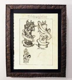 "Brad ""Tiki Shark"" Parker - Fink Dragon VS Souvenir TIKI - Statue Concept drawingpencil on paper, framed 13x16 in.$375"