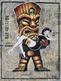 """Brad """"Tiki Shark"""" Parker - Forbidden Hawaii (painting)Acrylic on newspaper, framed 16x21 in.$4100"""