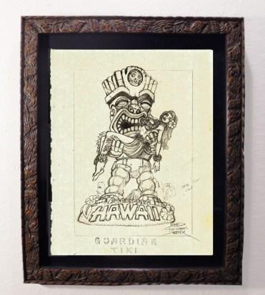 """Brad """"Tiki Shark"""" Parker - Forbidden Hawaii (drawing)pencil on paper, framed 13x16 in.$375 Sold"""