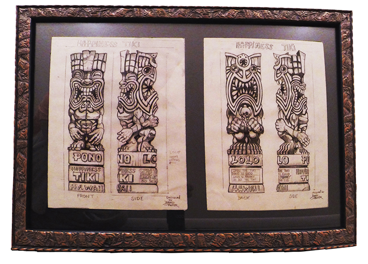 """Brad """"Tiki Shark"""" Parker - Happiness Tiki (2 drawings)pencil on paper, framed 23x16 in.$750 Sold"""