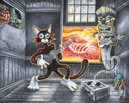 "Brad ""Tiki Shark"" Parker - Scaredy Cat Meets the Ghost of Exotica (painting)Acrylic on canvas, 30x24 in. Sold"