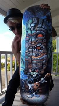 "Brad ""Tiki Shark"" Parker - Scaredy Cat skate deckAcrylic on printed skate deck, 9x32 in. $1500"