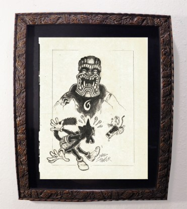 "Brad ""Tiki Shark"" Parker - Scaredy Cat & Mr. TIKI (drawing)pencil on paper, framed 13x16 in.$375"