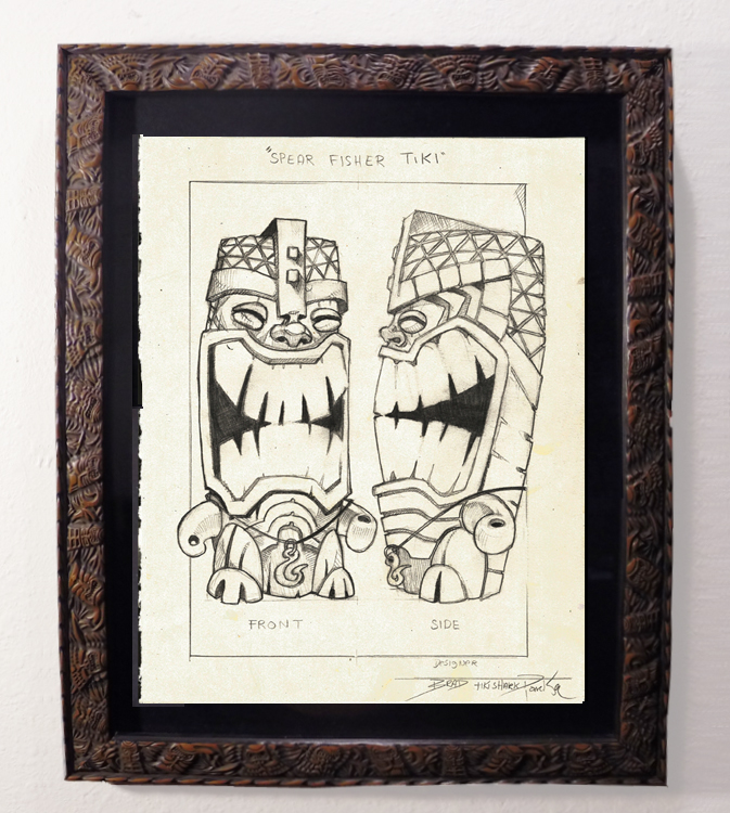 "Brad ""Tiki Shark"" Parker - Spear-Fisher Tiki-Mug front (drawing)pencil on paper, framed 13x16 in.$375"