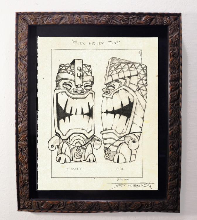 "Brad ""Tiki Shark"" Parker - Spear-Fisher Tiki-Mug front (drawing)pencil on paper, framed 13x16 in.$375"