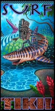 "Brad ""Tiki Shark"" Parker - Tiger Shark Surfing (Velour Giclée)velour giclée, signed+ltd. 1/50 30x60 in. $50 each"