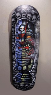 "Brad ""Tiki Shark"" Parker - Tomb of the Tiki skate deckAcrylic on printed skate deck, 9x32 in. $1500 Sold"