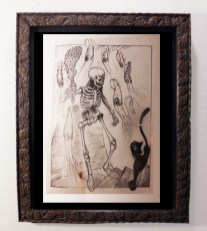 "Brad ""Tiki Shark"" Parker - Night Marcher (drawing)pencil on paper, framed 13x16 in.$375 Sold"