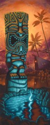 "Brad ""Tiki Shark"" Parker - Tiki of the Blue Pool IIAcrylic on canvas, 24x60 in. $3750 Sold"