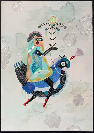 """Bunnie Reiss - One Way Ticket. acrylic, gouache on paper, 14x20"""", $1000"""