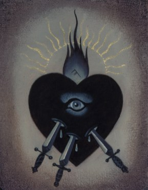 Jasmine Worth - Sacred Heart III: Swords,oil on board, 3.5x3 in. $295 Sold