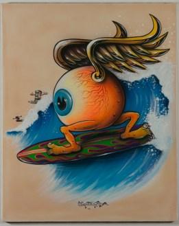 Von Franco - Surfing Eyeball Acrylic gouache on posterboard, 24x30 in. $3000