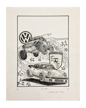 Tom (Fox) Marnick - Volkswagon & PorscheInk on Paper, 20 x 16 in.