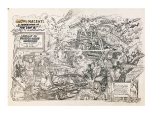 Tom (Fox) Marnick - A Panorama of Violence & Havoc Ink on Paper, 40 x 29.5 in.