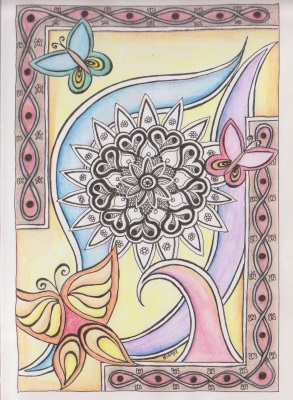 Coloring page - Butterfy Tangle. My first drawing with watercolor pencil.
