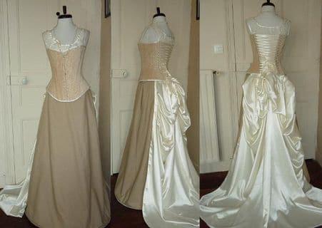 Robe de mariée historique sur mesure corset traine