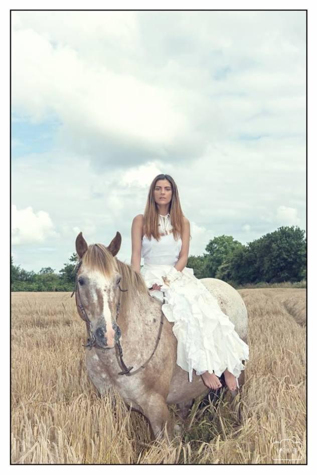 robes de mariées nature à Brest, jupe volants, top coton et galons