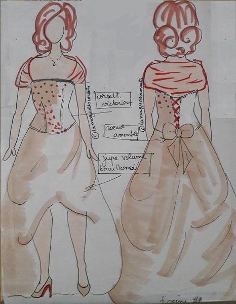 robe de mariée en soie croquis