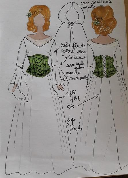 robe de mariée médiévale Tartan