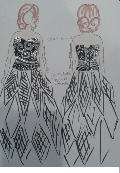 croquis robe de mariée corset