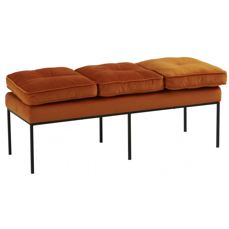 banc-de-lit-velours-orange-modèle-Nirva