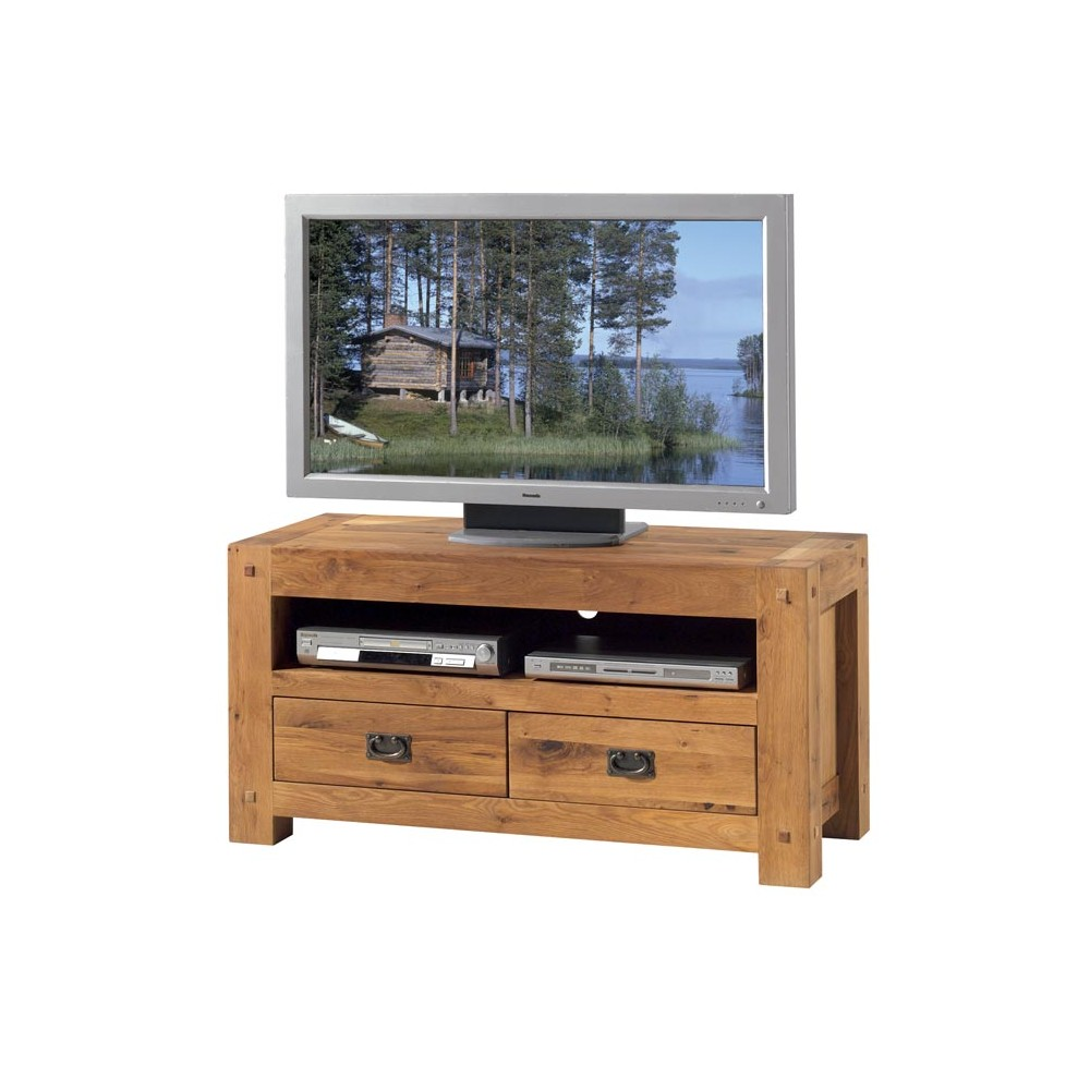 meuble tv de 120 cm en chene massif huile de la collection lodge