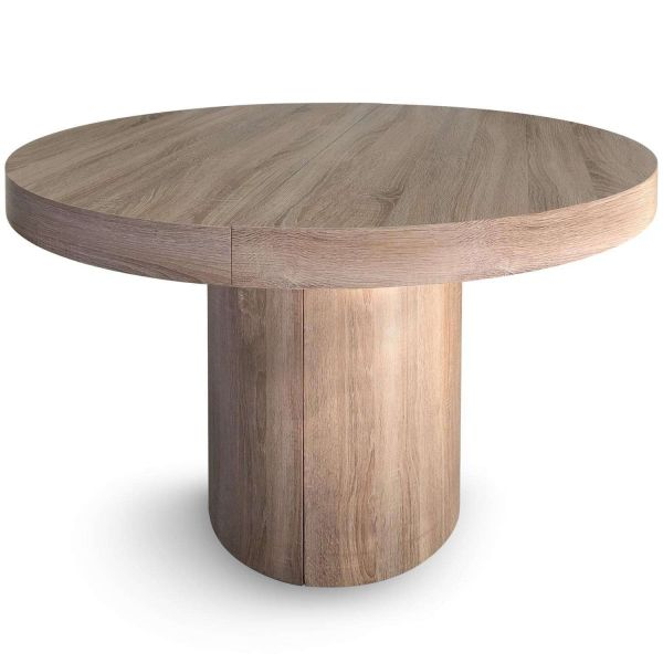 table ronde extensible chene clair melanie 12 couverts