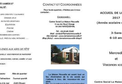 Infos Accueil de Loisirs 3/5 et 6/10 ans – 2017