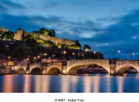 Jambes Bridge crossing the river Meuse as it passes through the city of Namur in the Wallonia Region, southern Belgium