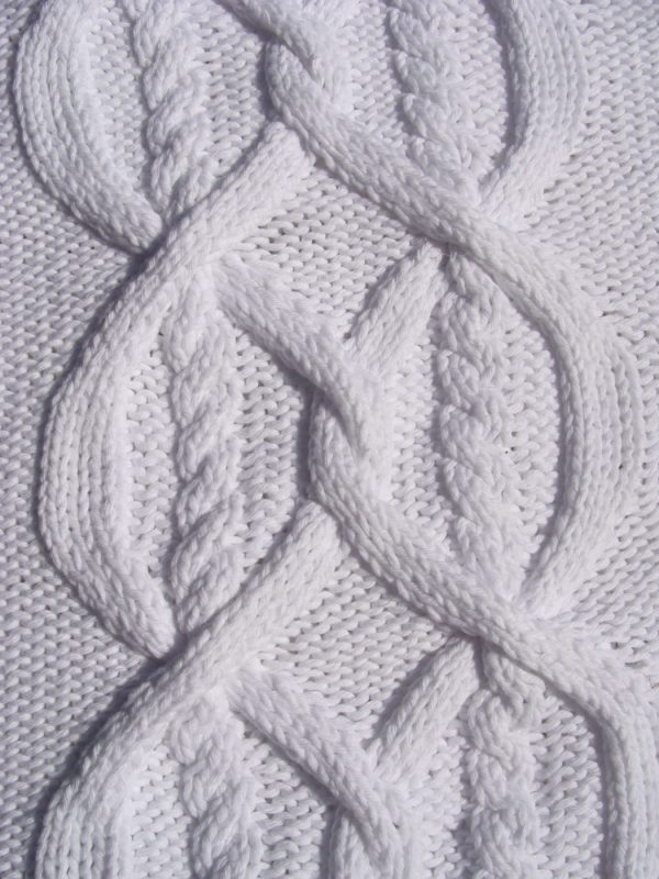 Plaid irlandais blanc, 100% coton, blanc, tricoté main. pièce unique. Création originale La Malle au Coton. M3
