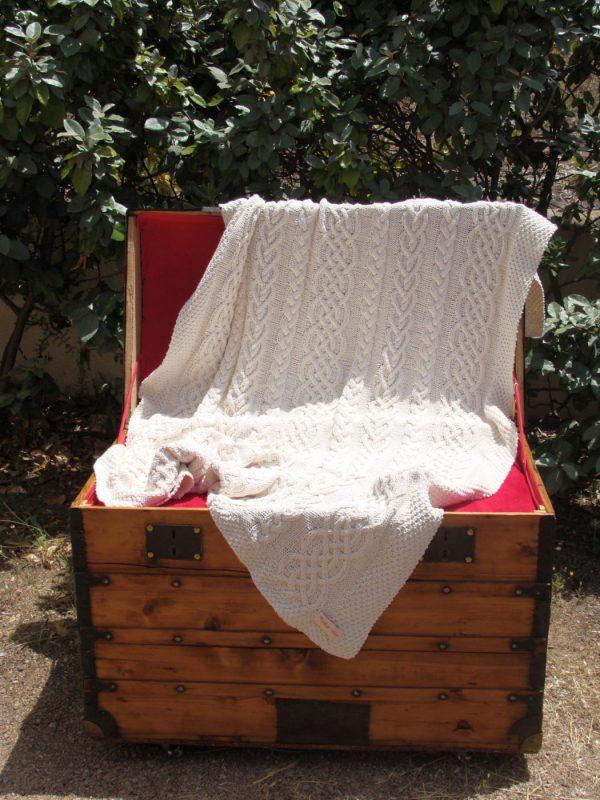 Malle corse ancienne-Plaid irlandais, 100% coton recyclé, tricoté main. A1