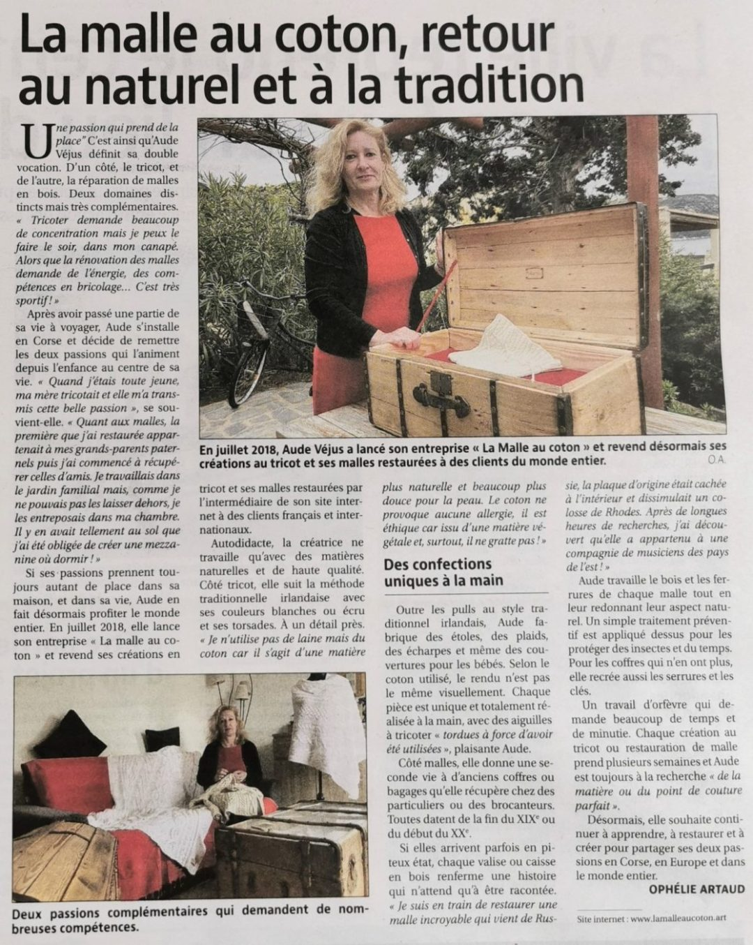 Article de presse Corse Matin- La Malle au Coton