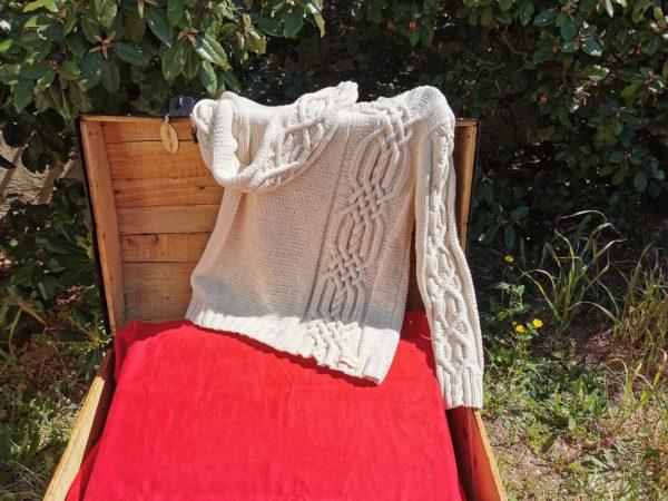 Pull irlandais asymétrique en coton bio