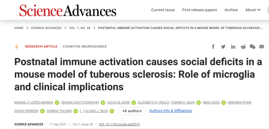 Screen shot of article in Science Advances by Dr. Lopez titled: Postnatal immune activation causes social deficits in a mouse model of tuberous sclerosis: Role of microglia and clinical implications.