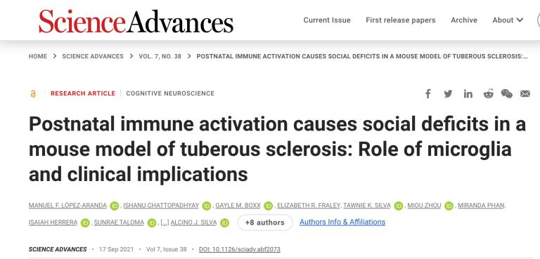 Foto de el articulo publicado en la revista Science Advances por el Dr. Lopez titulado: Postnatal immune activation causes social deficits in a mouse model of tuberous sclerosis: Role of microglia and clinical implications.