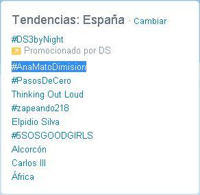 También fue  trending topic la solicitud de la dimisión de Ana Mato