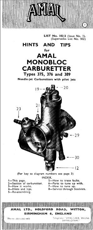 Amal Carburador Monobloc 375-376-389 Consejo Sugerencias