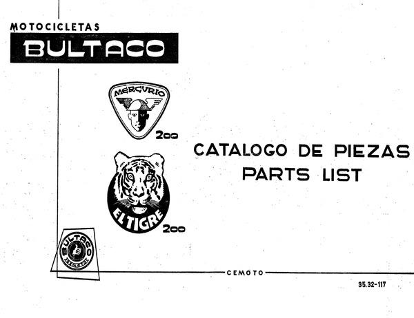 Manual de despiece de Bultaco Mercurio 200 y de El Tigre