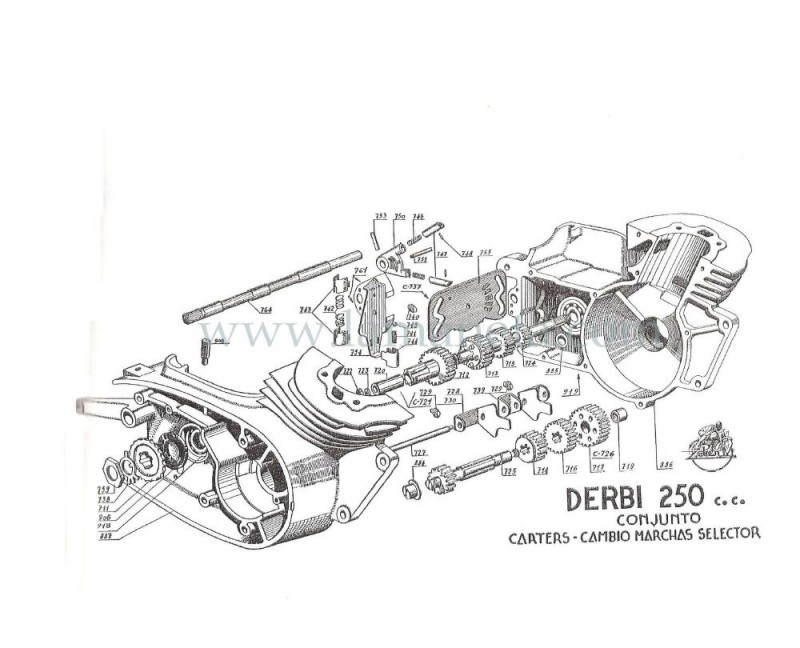 Derbi 250 cc Bicilindrica. Manual de despiece 1 Parte