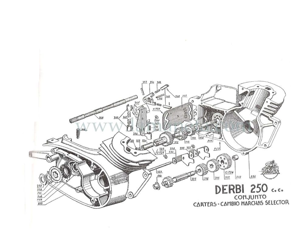 Derbi 250 cc Bicilindrica. Manual de despiece 1 Parte