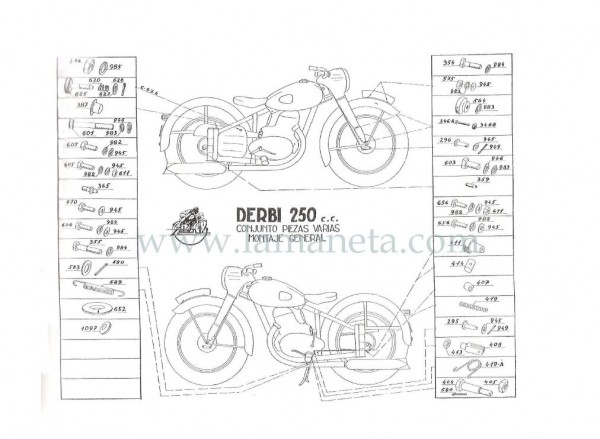 Derbi 250 cc Bicilindrica. Manual de despiece 2 Parte
