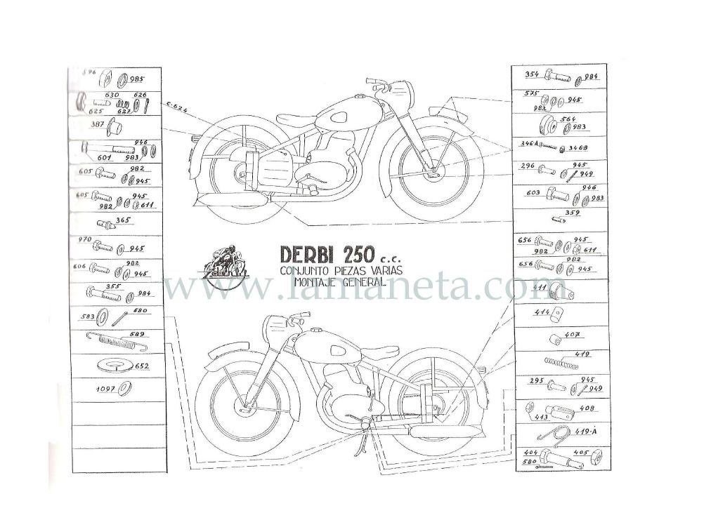 Derbi 250 cc Bicilindrica. Manual de despiece 2 Parte