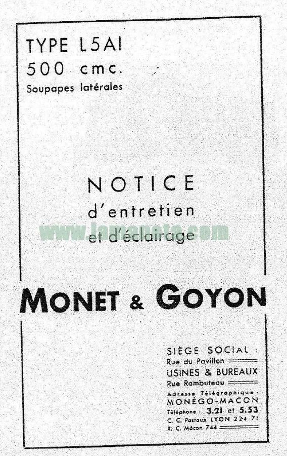 Monet Goyon 500 L5 AI 1940. Manual de mantenimiento
