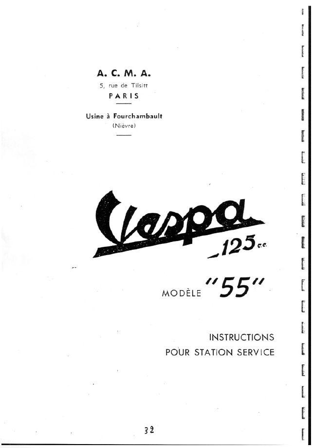 Vespa 125 Version 1955 Manual de Taller y Notas FR 0254
