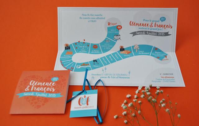 9-faire-part-mariage-surmesure-clemencefrancois-orange-bleu-papierbrillant-plateaudejeu-vindhonneur-2
