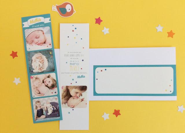 Étonnant faire-part-naissance-photomaton-magnet-carte-papier-colore GX-04