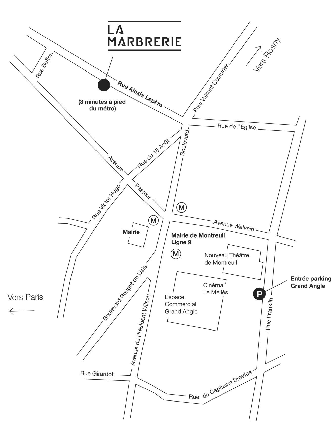 Plan d'accès à la Marbrerie, Montreuil (93)